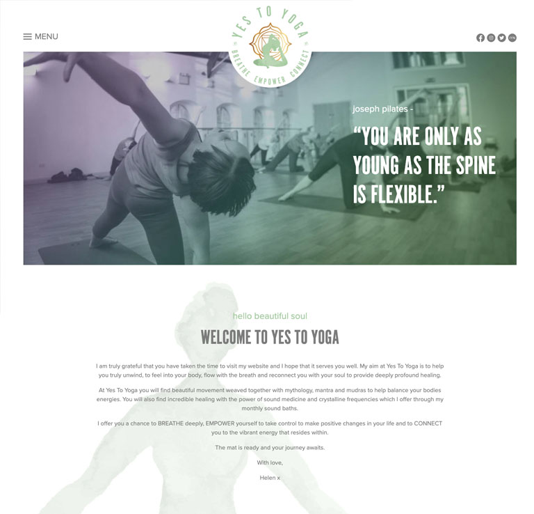 Yes to Yoga Website